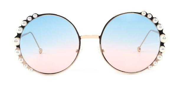 2424 shade of pearl Round pink glasses