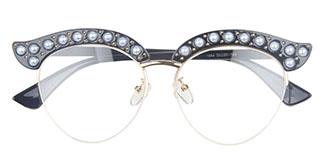 1844 Madge Cateye,Oval tortoiseshell glasses