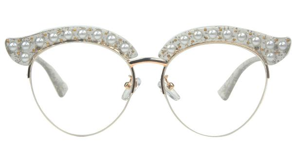 1844 Madge Cateye white glasses
