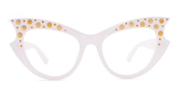 18550 Priscilla Cateye white glasses