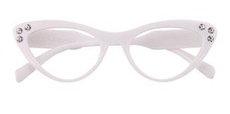 18701 Hana Cateye white glasses