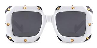 461 Bronx Rectangle white glasses