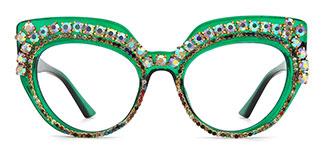662691 Raechellia Cateye green glasses