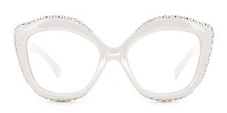 66322 Kathy Cateye white glasses