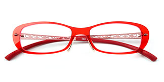 80A18 Brittany Rectangle,Oval red glasses