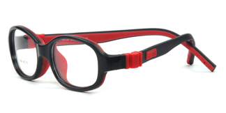 B096 Bravo(8 to 10 years old) Oval black glasses