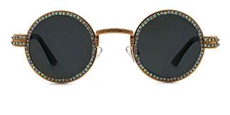E8010 Jeana Round,Oval gold glasses
