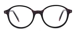 F1825 editha Round black glasses