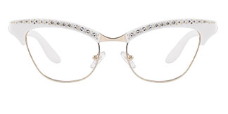 G0153 Amabel Cateye white glasses