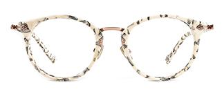 L-949 Maud Round white glasses